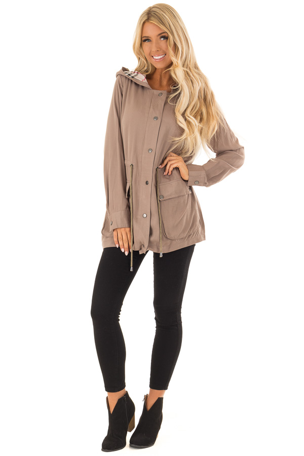 Dusty Olive Lightweight Jacket with Plaid Lining and Hood front full body
