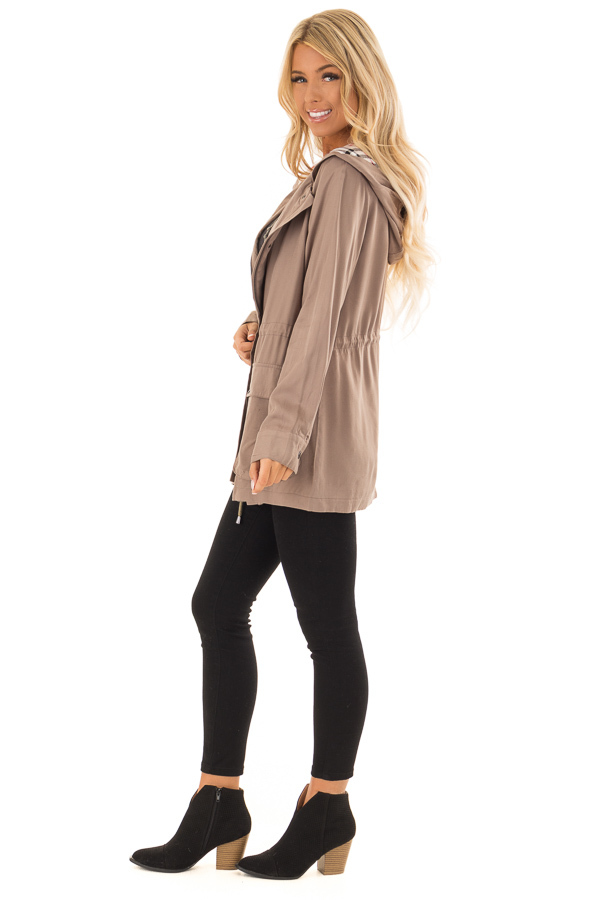 Dusty Olive Lightweight Jacket with Plaid Lining and Hood side full body