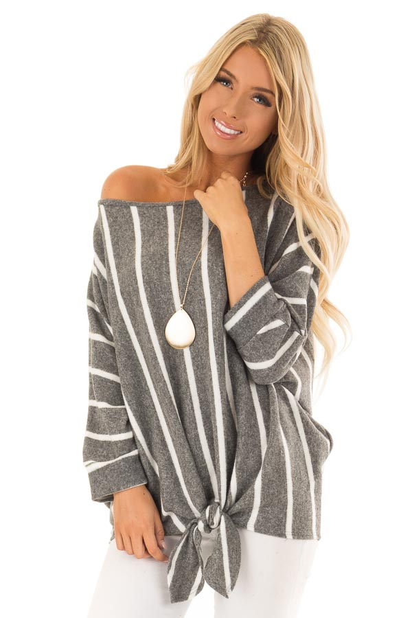 Charcoal and Ivory Striped Soft Knit Top with Front Tie front close up