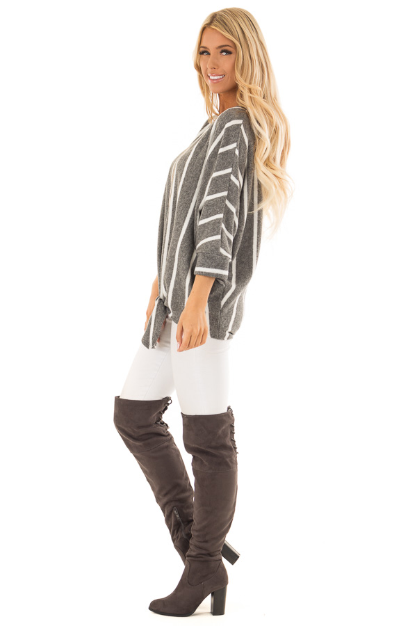 Charcoal and Ivory Striped Soft Knit Top with Front Tie side full body