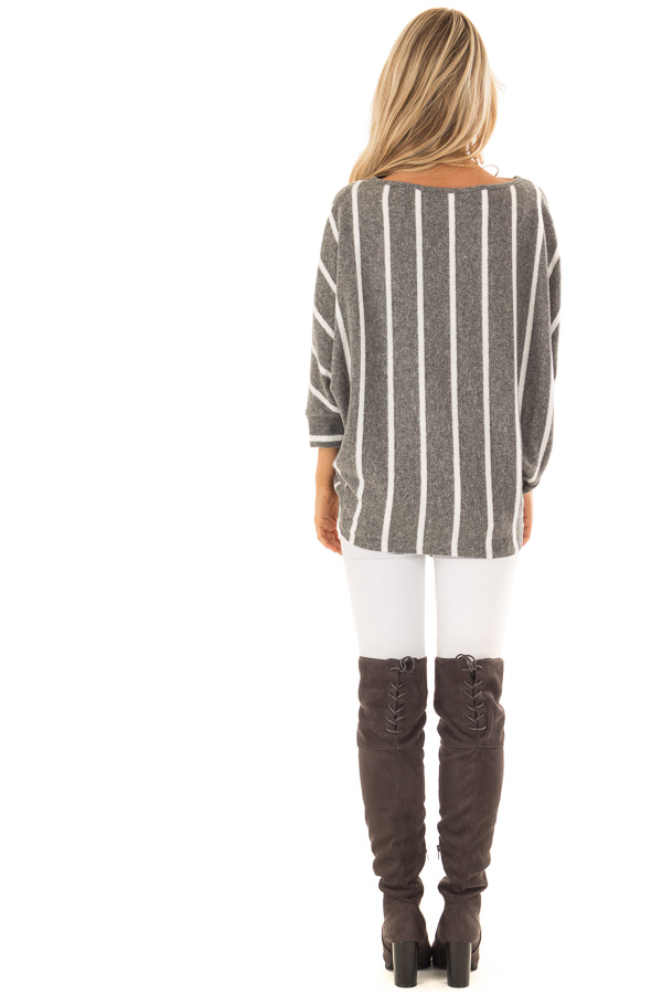Charcoal and Ivory Striped Soft Knit Top with Front Tie back full body