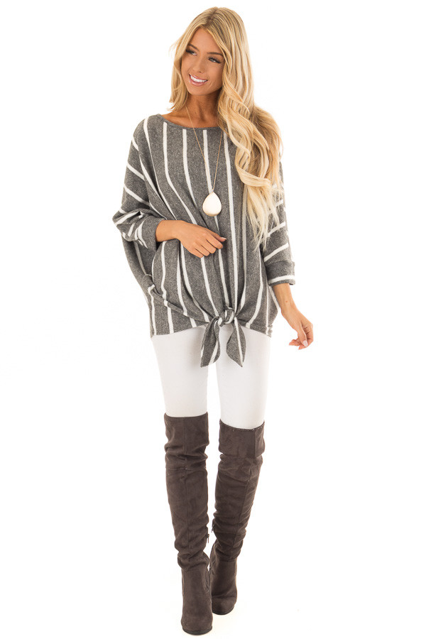 Charcoal and Ivory Striped Soft Knit Top with Front Tie front full body