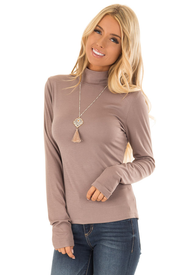 f0d7f878d9c Mocha Soft Knit Long Sleeve Turtleneck Top - Lime Lush Boutique