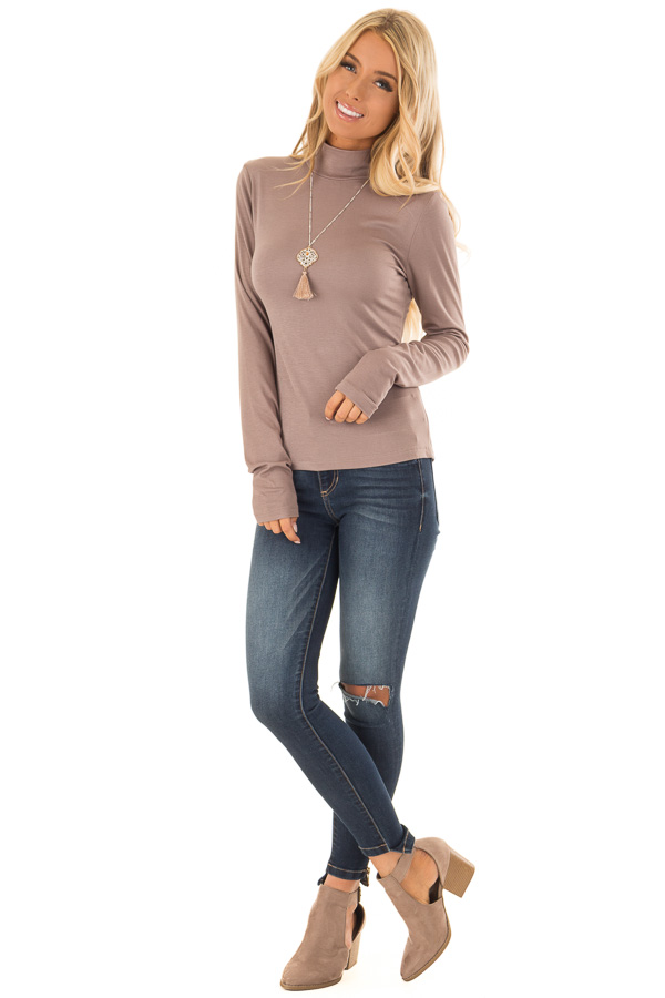 59359e62a70 ... Mocha Soft Knit Long Sleeve Turtleneck Top front full body ...