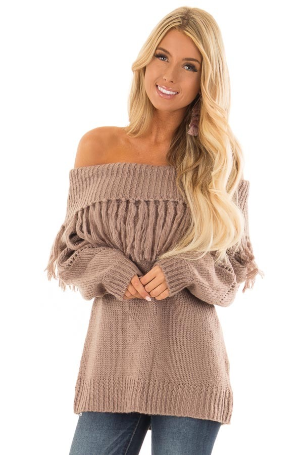 a31c13b994 Cocoa Off the Shoulder Long Sleeve Knit Top with Fringe - Lime Lush ...