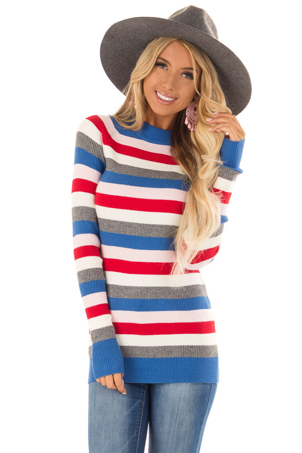 315391a6a7d Red Multi Color Ribbed Stripe Sweater with High Neckline - Lime Lush ...