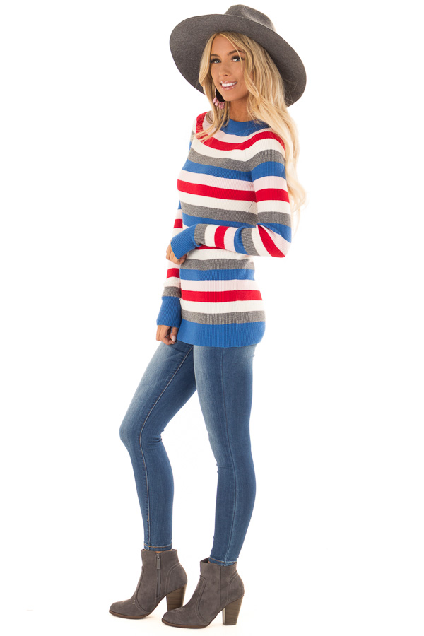 d5ed62b5b3a ... Red Multi Color Ribbed Stripe Sweater with High Neckline side full body  ...