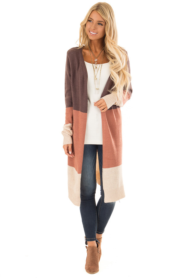 Earth Tone Open Front Cardigan with Long Sleeves front full body
