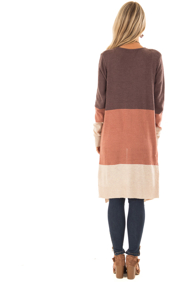 Earth Tone Open Front Cardigan with Long Sleeves back full body