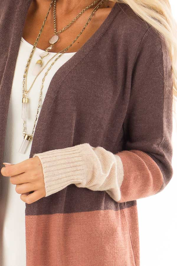 Earth Tone Open Front Cardigan with Long Sleeves detail