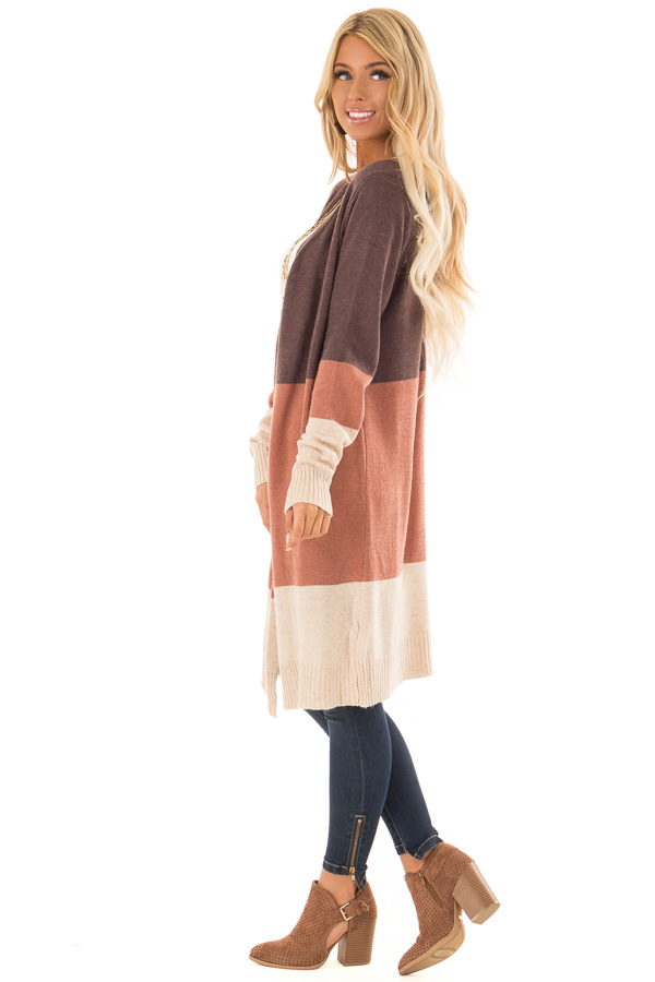 Earth Tone Open Front Cardigan with Long Sleeves side full body