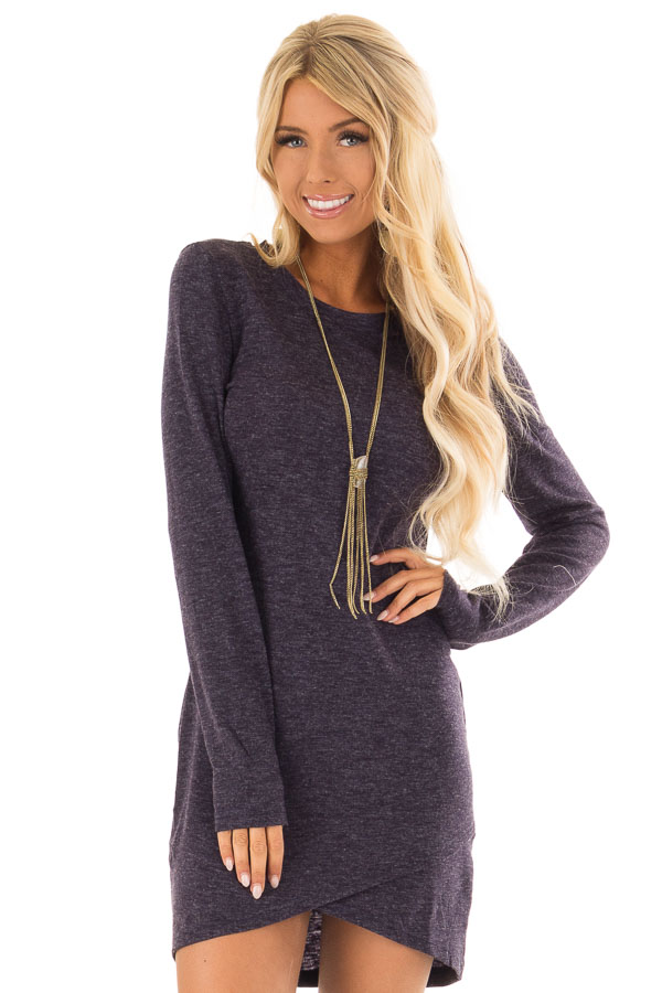 9cfb08b0b2d6 Navy Two Tone Long Sleeve Dress with Tulip Hem - Lime Lush Boutique