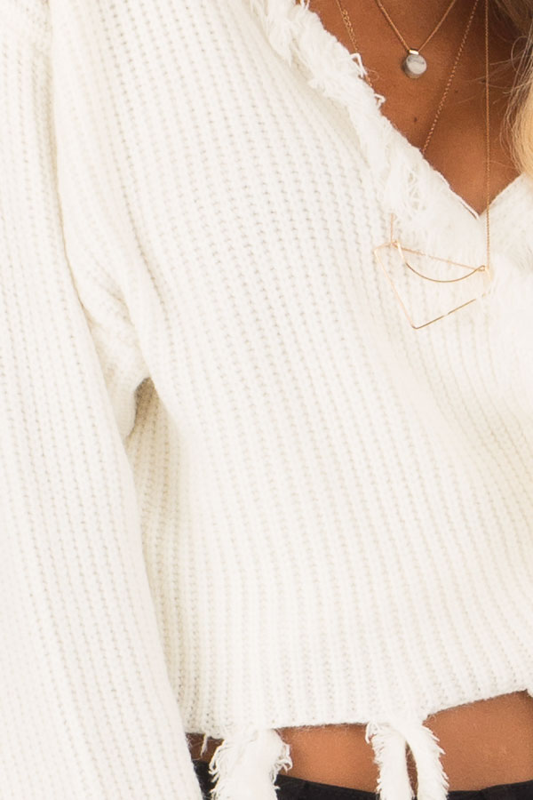 Cream Fringe Knit Sweater with Long Sleeves and Tie detail