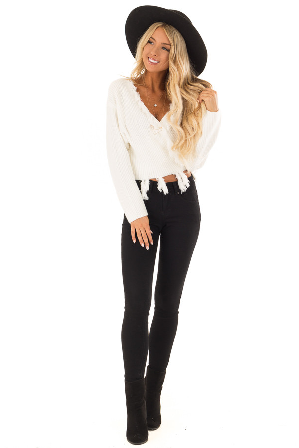 Cream Fringe Knit Sweater with Long Sleeves and Tie front full body