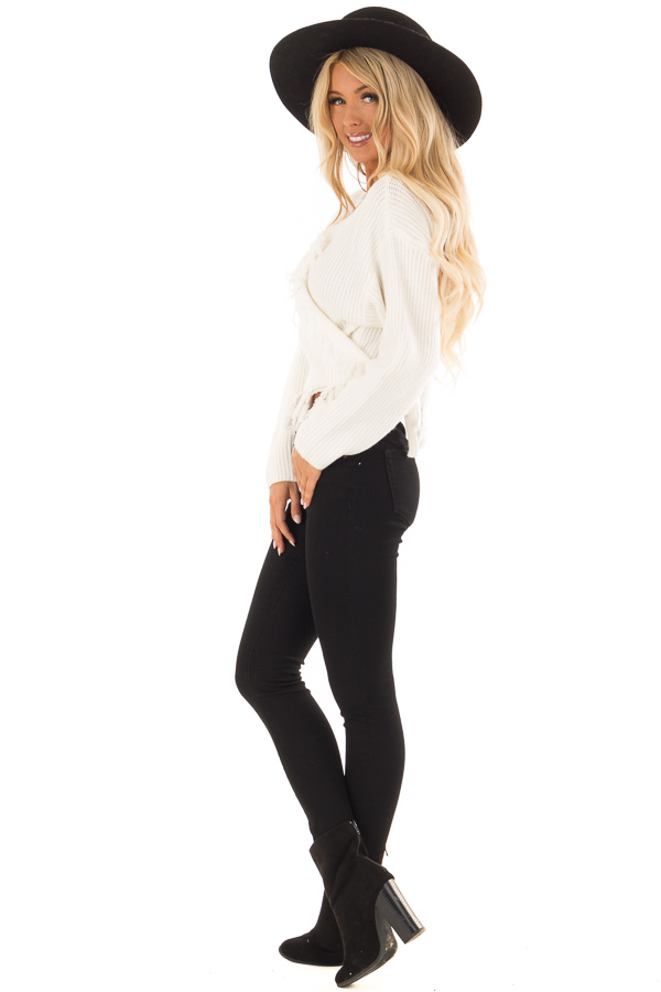 Cream Fringe Knit Sweater with Long Sleeves and Tie side full body