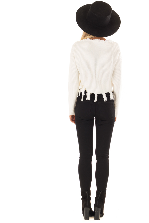 Cream Fringe Knit Sweater with Long Sleeves and Tie back full body