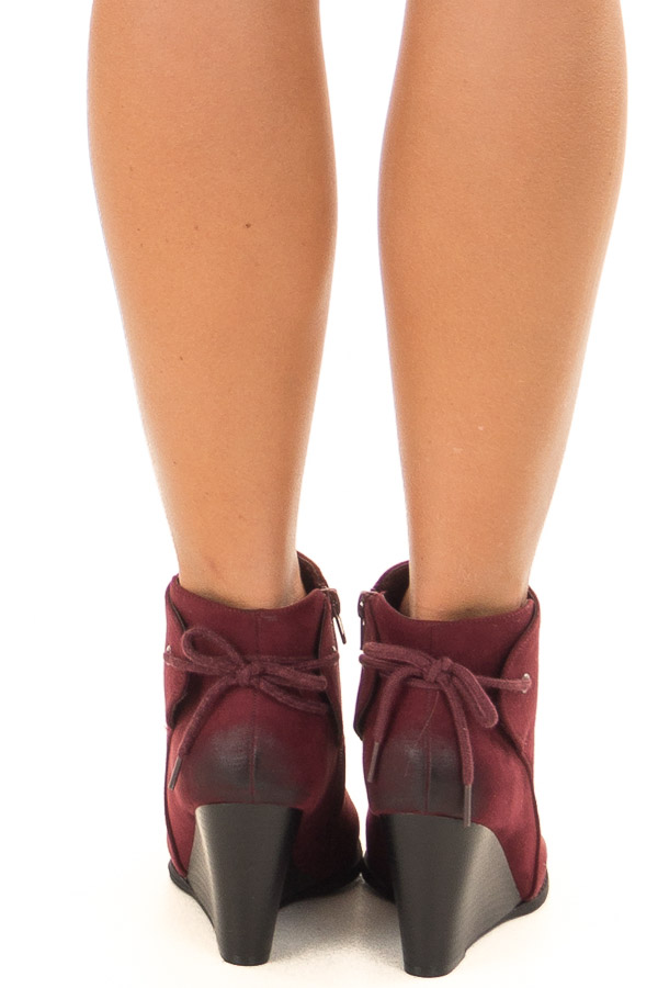 Burgundy Ombre Tip Wedge Booties with Shoelace Tie on Back back view