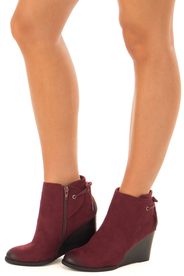 Burgundy Ombre Tip Wedge Booties with Shoelace Tie on Back  side view