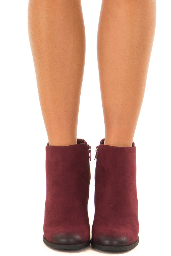 Burgundy Ombre Tip Wedge Booties with Shoelace Tie on Back front view