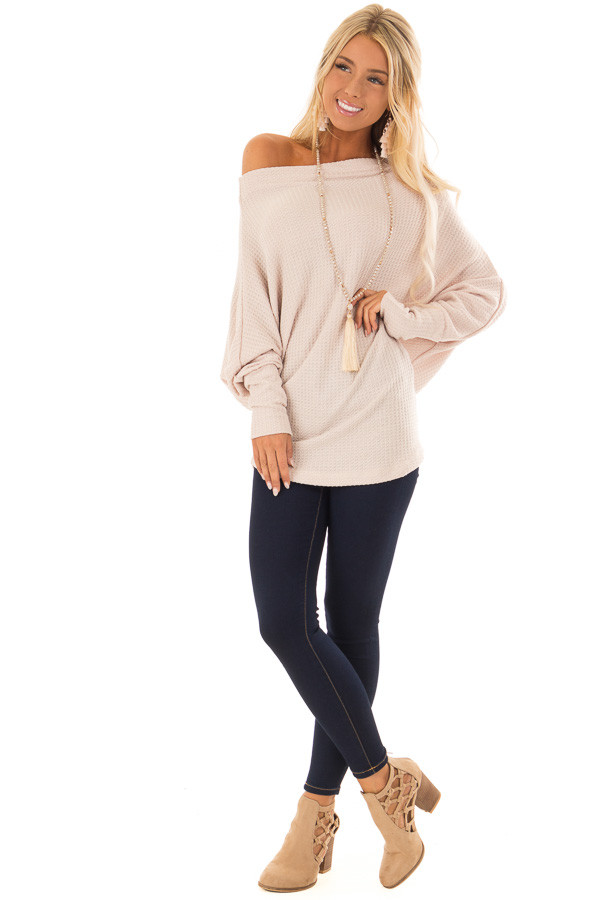 Dusty Blush Waffle Knit Dolman Off Shoulder Top front full body