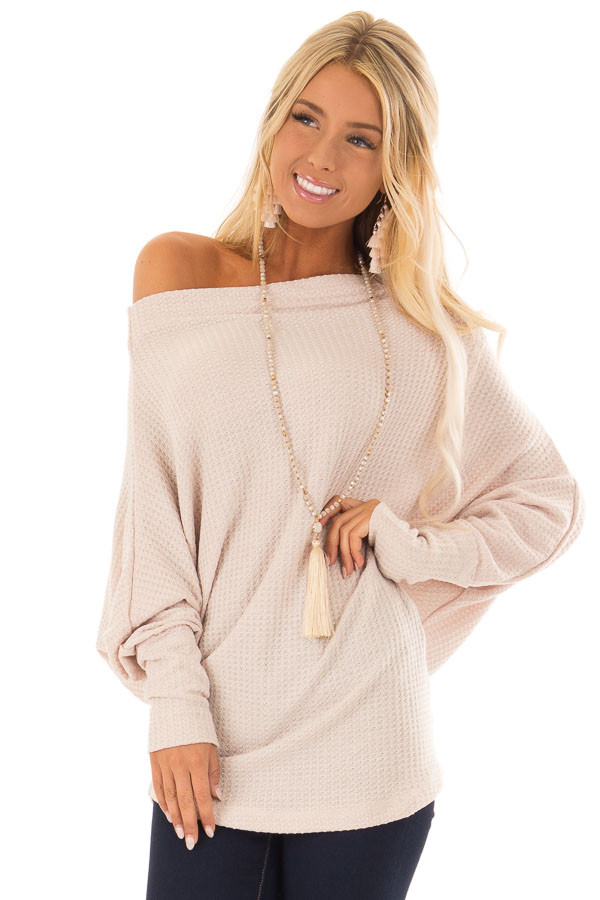 Dusty Blush Waffle Knit Dolman Off Shoulder Top front close up