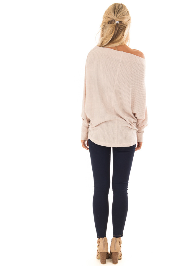 Dusty Blush Waffle Knit Dolman Off Shoulder Top back full body