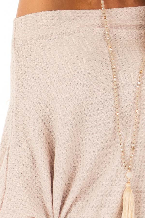 Dusty Blush Waffle Knit Dolman Off Shoulder Top detail