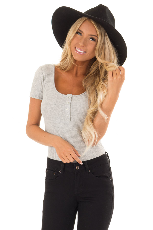 239f19cbb36 Heather Grey Ribbed Bodysuit with Button Front Detail - Lime Lush ...