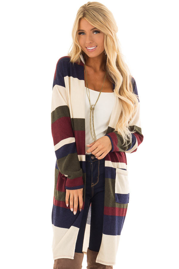 Ivory Multi Color Stripe Open Front Cardigan with Pockets front close up cd33614ca