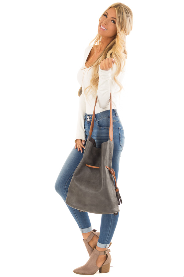 Charcoal Faux Leather Drawstring Shoulder Bag side full body