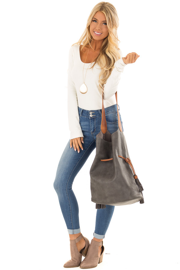 Charcoal Faux Leather Drawstring Shoulder Bag front full body