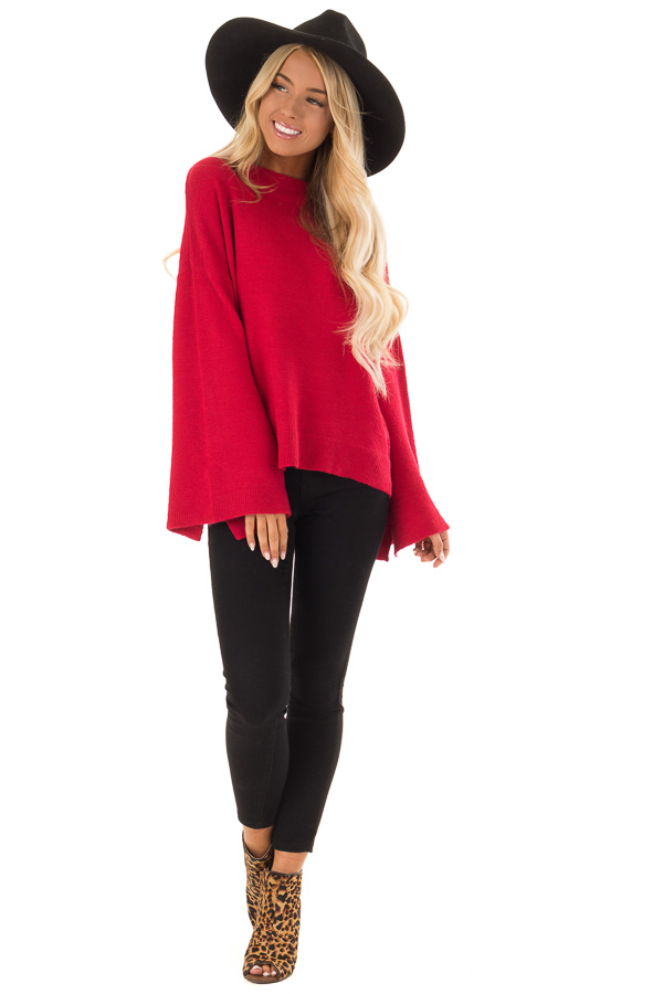 a8fd516b0cae42 Crimson Long Sleeve Mock Neck Sweater with Bell Sleeves front full body