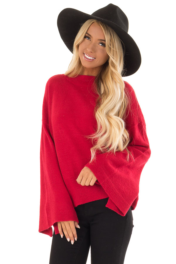 bfbe28dc6e3492 Crimson Long Sleeve Mock Neck Sweater with Bell Sleeves - Lime Lush ...