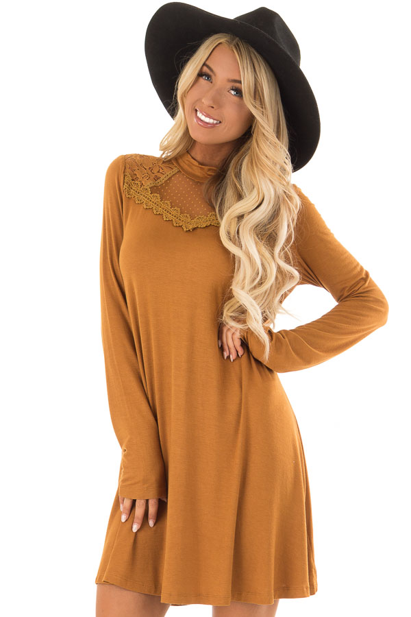 f2e9e31534f3 Camel Mock Neck Long Sleeve Dress with Sheer Lace Detail - Lime Lush ...