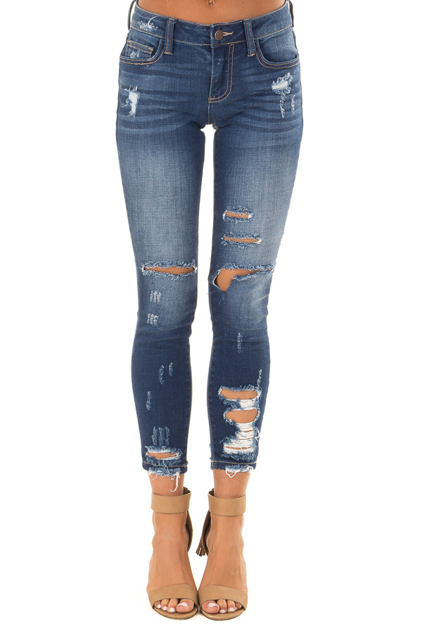 Dark Wash Denim Skinny Jeans with Distressed Details front view