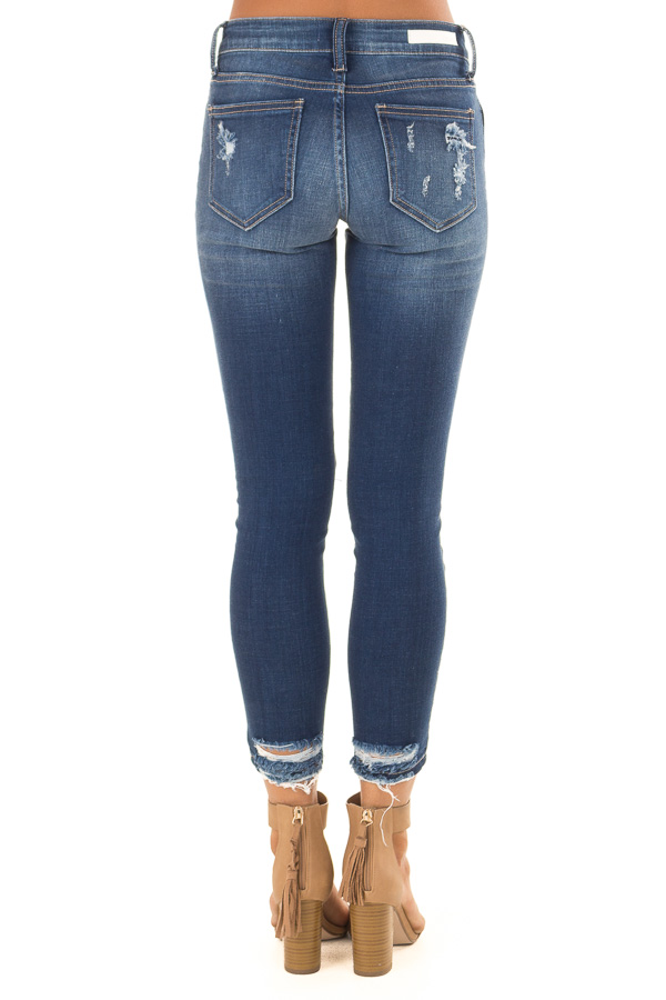 Dark Wash Denim Skinny Jeans with Distressed Details back view