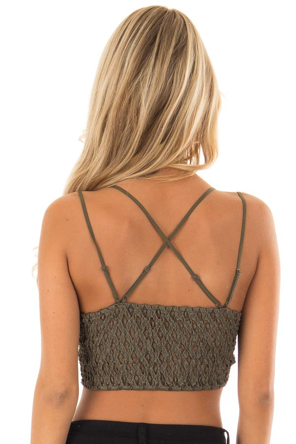Olive Lace Bralette with Adjustable Criss Cross Straps back close up