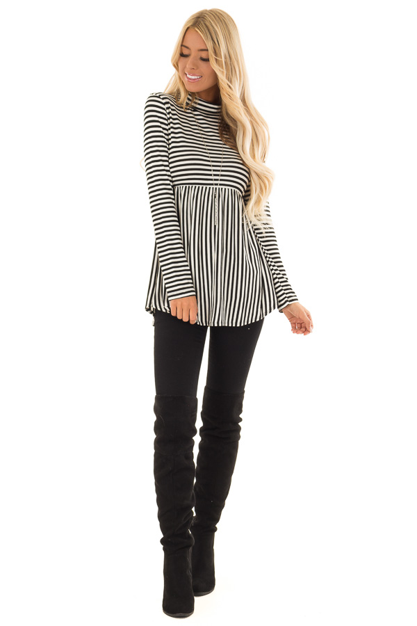 65b9f1ff2d7b Black and White Striped Mock Neck Long Sleeve Babydoll Top front full body