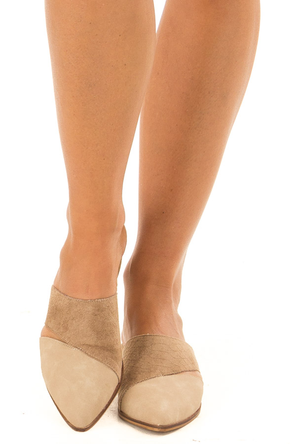 Beige and Mocha Slip On Flats with Cut Out Detail front view