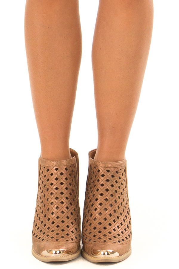 Bronze Metallic Bootie with Cut Out Details front view