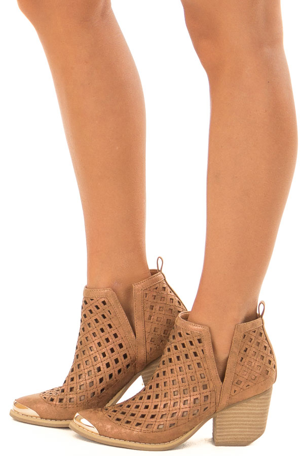 Bronze Metallic Bootie with Cut Out Details side view