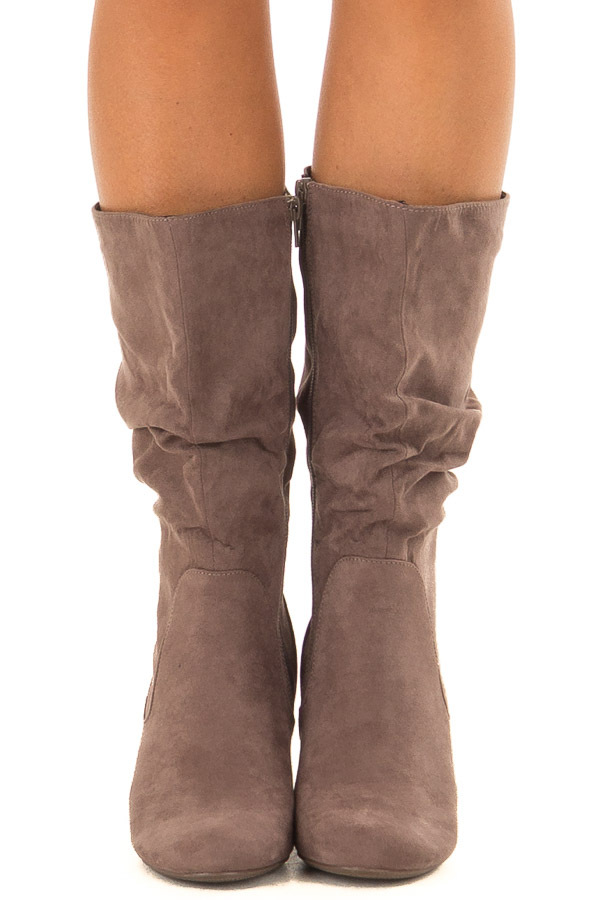 Mocha Faux Suede Heeled Boot front view