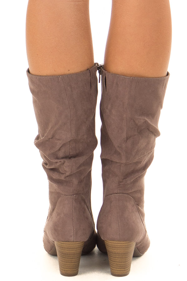Mocha Faux Suede Heeled Boot back view