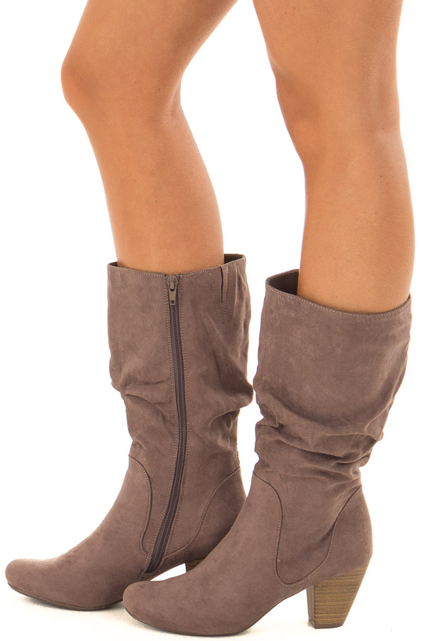 Mocha Faux Suede Heeled Boot side view