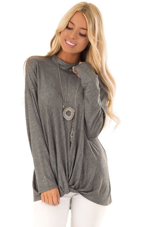 4f3aeb98e Charcoal Mock Neck Long Sleeve Top with Front Twist - Lime Lush Boutique
