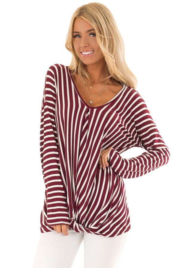1ce94744d8029 Burgundy and Off White Striped V Neck Top with Twist Front front close up