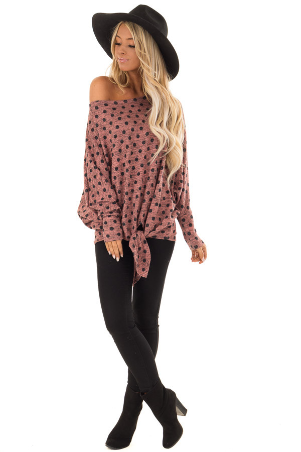 Dusty Rose and Charcoal Polka Dot Top with Dolman Sleeves front full body