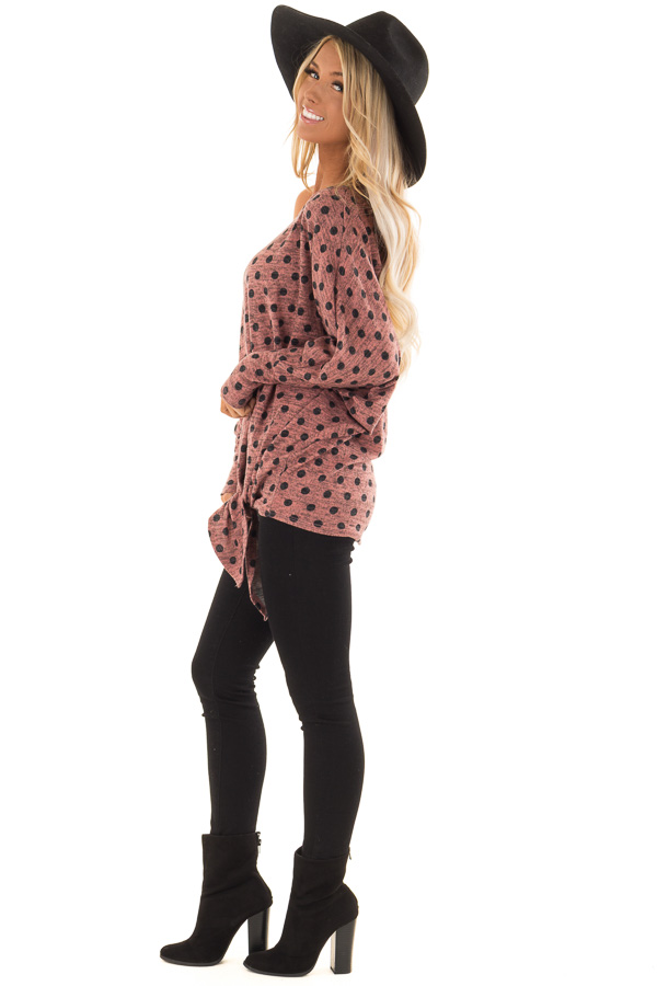 Dusty Rose and Charcoal Polka Dot Top with Dolman Sleeves side full body