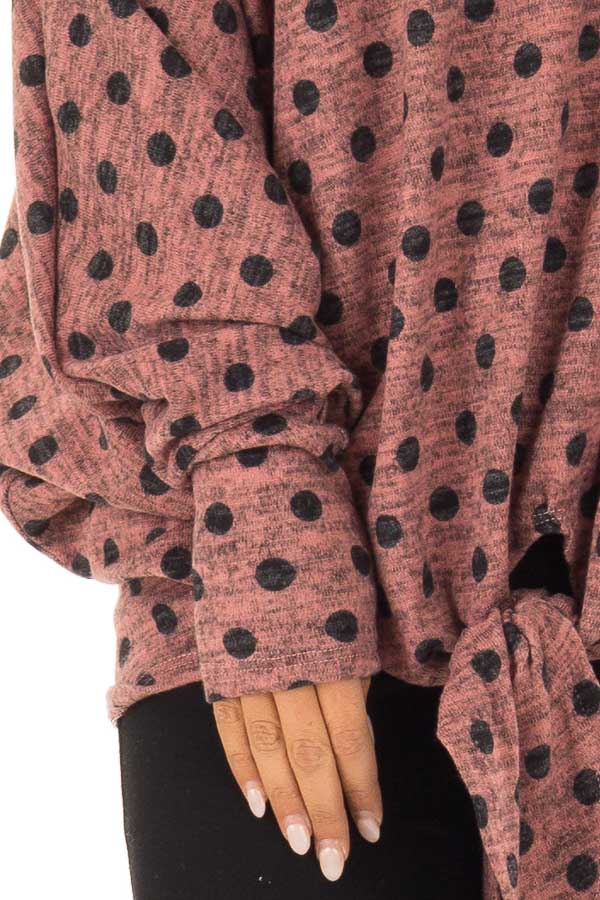 Dusty Rose and Charcoal Polka Dot Top with Dolman Sleeves detail