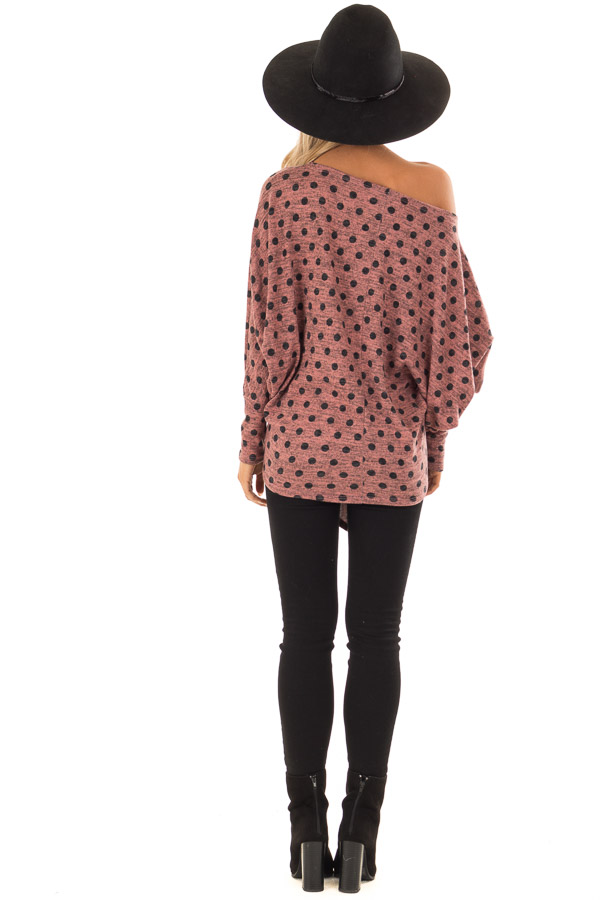 Dusty Rose and Charcoal Polka Dot Top with Dolman Sleeves back full body
